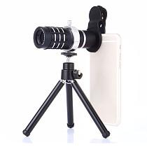 FCLUO Aluminum 12X Telephoto 18x HD Telescope Phone Camera Zoom Lens w/ Tripod Universal Clip Set Smartphone Mobile Telescopica Lenses