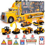 FeiChao 1:64 Storage Container Truck ABS & Alloy Diecast Mini Cars Engineering Excavator Vehicles Road Sign Model Set Gift for Kids Boys