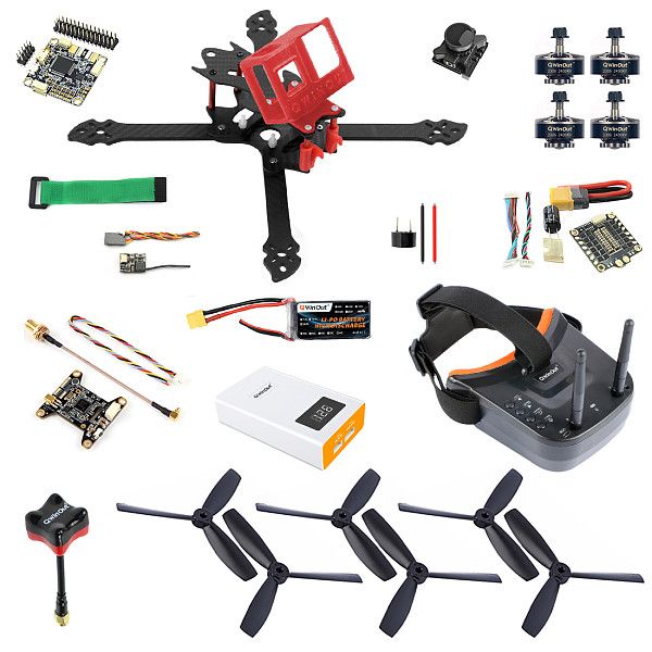 QWinOut T260 DIY RC FPV Racing Drone Kit with 260mm Frame Betaflight OmniF4 Pro V2 Flight Controller Razer Micro FPV Camera LST-009 FPV Goggles