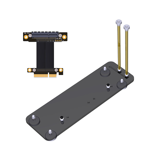 ADT-Link PCIe 3.0 x4 Male to x4 Female Extension Cable 32G/bps PCI-E 4x Graphics SSD RAID Extender w/Vertical Bracket Stand Holder Base