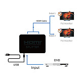 XT-XINTE 1080P HDMI Splitter 1 In 2 Out HDMI Switcher Power Signal Amplifier Split Screen for Set-top Box, DVD Player, D-VHS player, and other HDTV devices