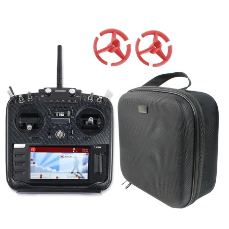 Jumper T16 Pro Hall Gimbal Open Source Built-in Module Multi-protocol Radio Transmitter with Carbon Fiber Protective Shell & Rocker Mount & Protable Case Handbag