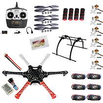 F550 Drone FlameWheel Kit With QQ HY ESC Motor Carbon Fiber Propellers + RadioLink 6CH TX RX+ Skid PTZ