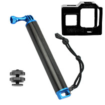 BGNing Carbon Fiber Handheld Selfie Stick with 3D Printing Camera Case & Mini 1/4 Cold Shoe Seat for Gopro Hero 8 Action Camera