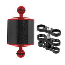 BGNing D80mm 5 Inch Carbon Fiber Float Buoyancy with 2-Hole Butterfly Clip for Diving Dual Handheld Stabilizer Fill Light Arm Grip
