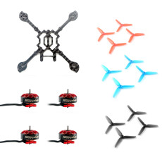 Happymodel Larva X HD 125mm Carbon Fiber Frame Kit with EX1203 1203 6200KV 2-3S Motor & 2.5inch 65mm 3-Blade Props for Toothpick DIY FPV Racing Drone Quadcopter