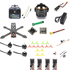 QWinOut T220 DIY FPV Racing Drone RC Quadcopter RTF with Flysky S-i6 Remote Controller F3 Flight Control 700TVL Camera 2204 2300kv 2-3s Motors FPV Goggles Unassemble