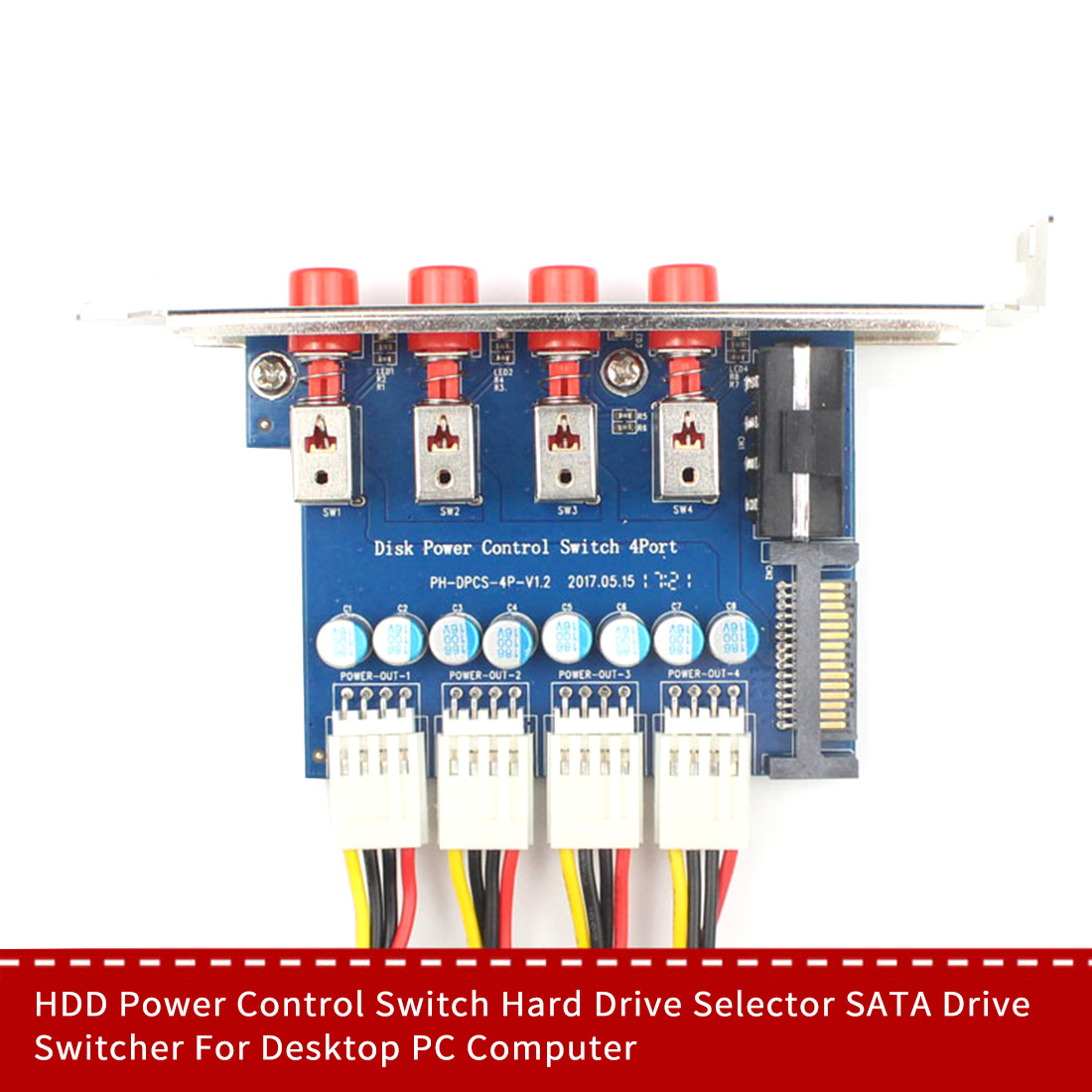 JMT 4-Way HDD Power Control Switch Hard Drive Selector SATA Drive Switcher SATA Large 4pin Powered Expansion Card
