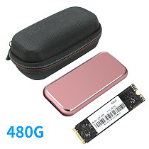 XT-XINTE Solid-State Drive 22*80mm HDD with M.2 B-key SATA SSD to USB3.1 10Gbps Hard Disk Box & Shockproof Protective Hard Case