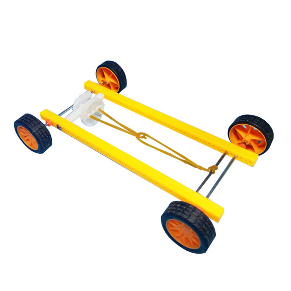 Feichao Rubber Band Power Trolley with Rubber Tires Straight Racing Car DIY Toys
