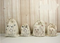 3 PCS Cute Animal  Pattern Cotton Drawstring Bag pouch Coin Purses