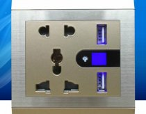 EU and UK Universal DC 5.0V/1000mA Dual USB Charging Socket Panel with LED Light Wall Socket