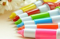 10pcs Creative Colorful Bowling Ball Shape Stretch Ballpoint Pen Original School Supplies