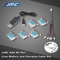 JJRC H20 RC Hexacopter Part 5x 3.7V 150mAh 30C Li-po Battery and Charging Cable Set KH20-001