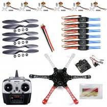 F550 Drone Heli FlameWheel Kit With KK 2.3 Flight Controller ESC Motor Carbon Fiber Propellers +RadioLink