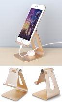 Universal Aluminum Swivel Desktop Stand Holder Mount For iPhone Samsung Tablets
