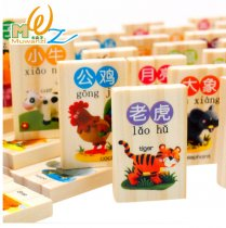MWZ 100Pcs Wooden Blocks Domino Game Chinese Characters English Letter Animal Number Cartoon Pattern Learning Cognitive Toys