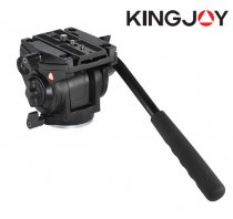 Kingjoy VT-3510 Tripod Head Aluminum Alloy Fluid Damping Head Bird Watching Stablizer for DSLR Camera with UNC 1/4  3/8  Thread Tripod