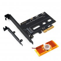 NGFF M.2 NVME PCIE SSD To PCI-E 3.0x 4X Adapter Card PCI Express w/ Cooling Fan & Bracket Support M2 Form Factors 2242 2260 2280