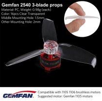 Gemfan 20 Pairs Flash 2540 2.5x4 2.5 Inch PC 3-blade Propeller Prop 1.5mm Mounting Hole for 1105 Motor RC Drone Quadcopter