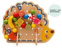 MWZ Enlightenment Kids Baby Learning Educational Wooden Toys Blocks Assemblage Hedgehog Fruit Beaded Threaded Toy