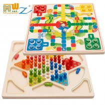 MWZ Enlightenment Kids Baby Learning Educational Wooden Toys Blocks Assemblage Checkers Flying Chess 2 in1 Multi-play Chess