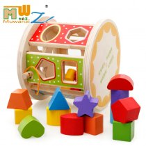 MWZ Enlightenment Kids Baby Learning Educational Wooden Toys Blocks Assemblage Play Shape Multi-function Intelligence Box