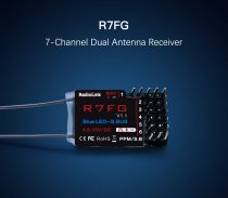 Radiolink R7FG 7 Channel 7CH Dual Antenna Receiver 2-Way Transmission Integrated Gyro for RC6GS RC4GS T8FB Radio Control TX