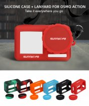 Sunnylife sports camera silicone protective cover lens hood lanyard wristband osmo action accessories