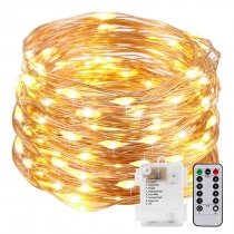 MingChuan LED String 2M 5M 10M Silver Copper Wire Warm White Lights Dimmable Remote Decor Garland Christmas Wedding Party Battery / USB