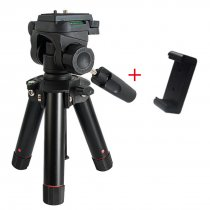 BGNING 3D PTZ Tripod Portable Mini Camera Tripod Live / Selfie Mini Tripod MS19 with Phone Clip