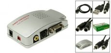 PC VGA to TV Signal Converter Box / VGA to AV Video Converter Adapter Switch Box (white)