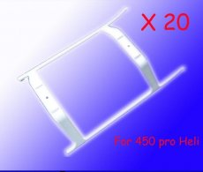20pcs/lot White Plastic Landing Skid Set (one hole) As H45050 Landing gear,TREX 450 PRO RC Helicopter