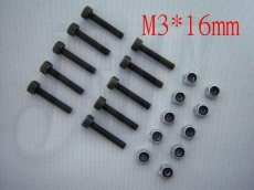 M3 x 16mm Nut & Screw, For  Trex T-rex 450 main rotor holder set