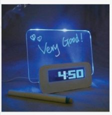 1pc Blue/Green LED Fluorescent Message Board Night Light Digital Alarm Clock with Calendar Temperature Timer Music