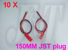 10Pairs 150mm 15cm JST CONNECTOR PLUGS PLUG WIRES for RC PLANE BEC LIPO BATTERY
