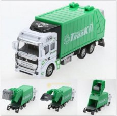Christmas 1:48 Pull Back Power Metal Alloy Car Garbage Truck Toy for Kids