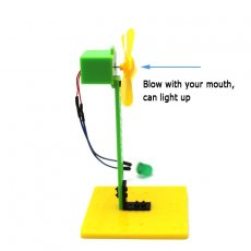 Mini Wind Power Green LED Blowing Generator Windmill Toys Kit 7.5*7.5*14cm for Science Education Experiment Demo Generator Model