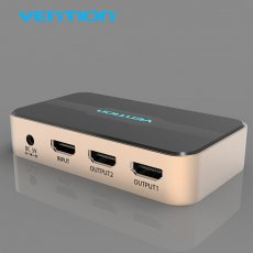 Vention HDMI Splitter 1x2 Switch Adapter 1 In 2 Out With Power Supply Metal