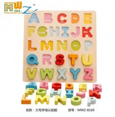 MWZ Wooden 3D Puzzle Toy English Alphabet Recognition Letter Digital Shape Cognitive Panel Board Jigsaw Kids Early Education