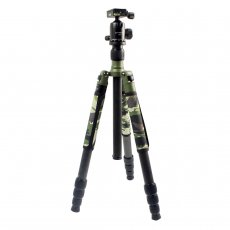 XILETU Professional Carbon Fiber Tripod Kit Army Olive Green Camouflage Sleeve Military Monopod Panoramic Ball Head T-284C+FB1