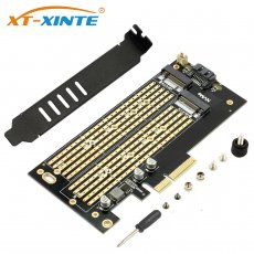 XT-XINTE SK7 M.2 NVMe SSD NGFF to PCIE X4 Riser Card Adapter M Key B KEY Dual interface card Suppor PCI Express3.0 Dual voltage 12v+3.3v SATA3
