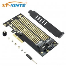 XT-XINTE SK6 M.2 NVMe SSD NGFF to PCIE X4 Riser Card M Key+B Key Dual Interface Card Support PCI Express 3.0 x4 2230-22110 All Size M.2