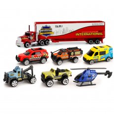 FEICHAO Children's Puzzle Alloy Car Toy Car Model Scale 1:64 Ambulance Team Set XY8337-5