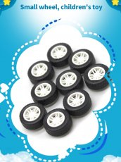 200Pcs 1.5X4.5X13.5mm Wheel Diy Toy Car Mini Wheel Rubber Model Accessories