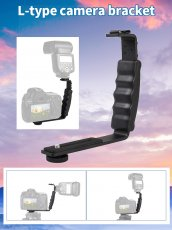 Camera Stand L-shaped Angle 2 Shoe Flash Bracket DV Bracket Tray Dual Cold Shoe Flash Bracket for DSLR Camera Camcorders