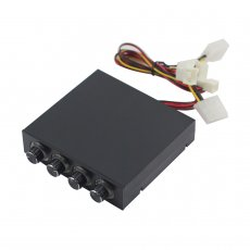 XT-XINTE Desktop Computer Chassis Fan Speed Controller with LED 4-Way CPU Fan PWM Temperature Control Governor Supports 3/4pin Fan