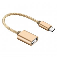 FCLUO Type C USB 3.0 Male to OTG Type-C Female Adapter Cord for Android Smartphone