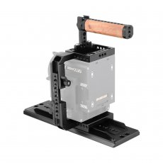 BGNING Camera Half Cage Kit Quick Release with 12  ARRI Dovetail Bridge Plate Wooden Top Handle Handgrip for Video Camera