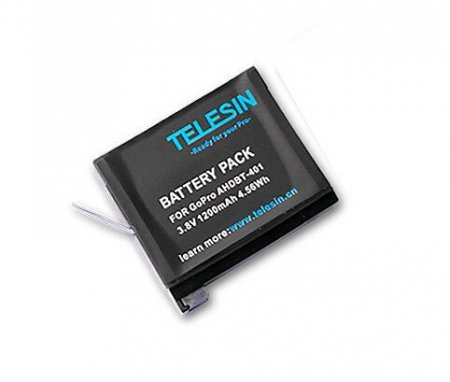 TELESIN 1Pcs 1200mAh Rechargeable Replacement Battery Kit Camera Accessories for Gopro Hero 4 AHDBT-401